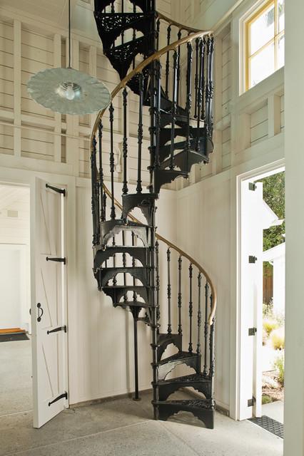 Victorian Pool House, Atherton, California farmhouse-staircase