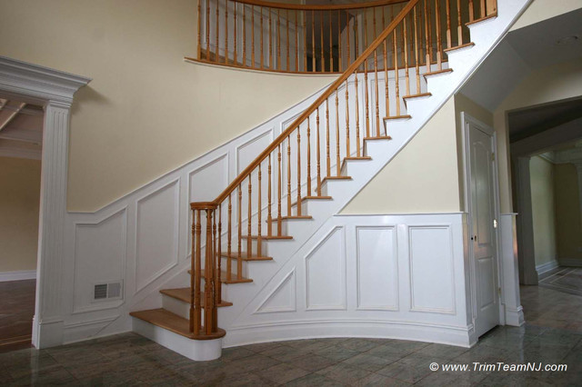 Charming Wainscot And Picture Frames Traditional Staircase