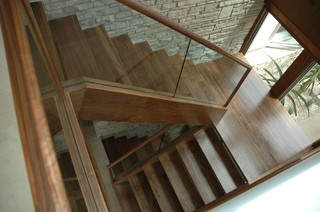 Walnut And Glass Contemporary Staircase San Diego