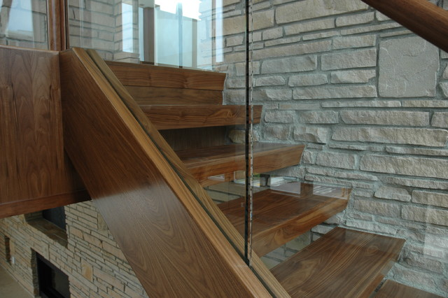 Walnut and Glass contemporary-staircase