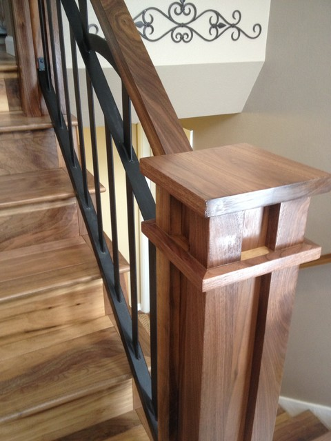 Walnut And Iron Stair Railing