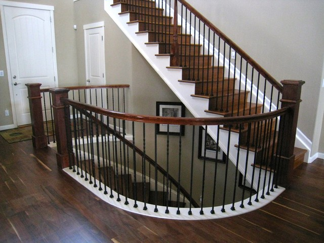 Walnut hardwood floor staircase traditional for Hardwood floors on stairs