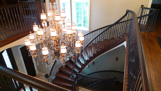 Hand scraped Walnut Staircase traditional-staircase