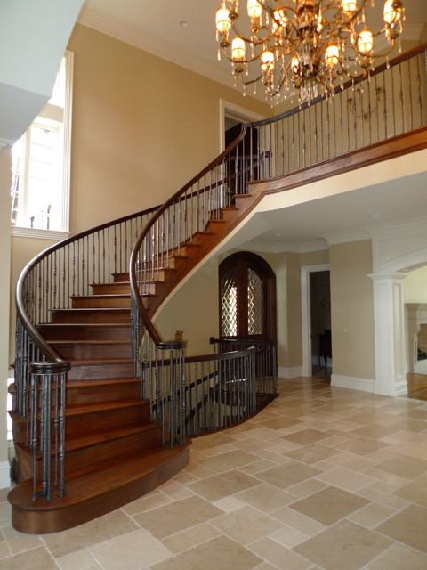 Hand Scraped Walnut Staircase Traditional Staircase