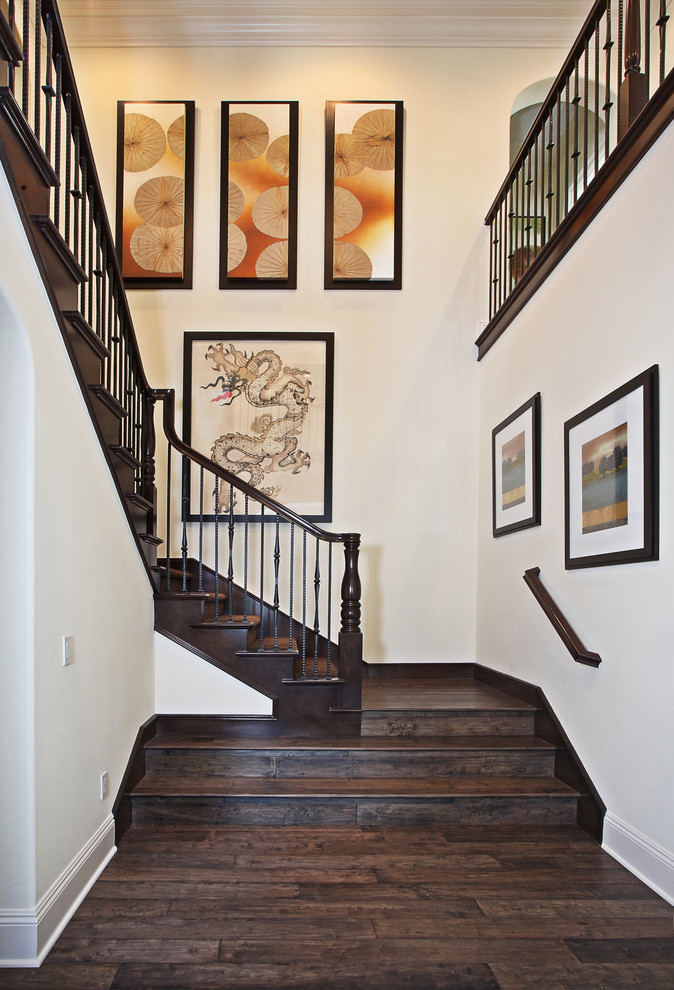 Inspiration for an asian wooden staircase remodel in Orange County with wooden risers