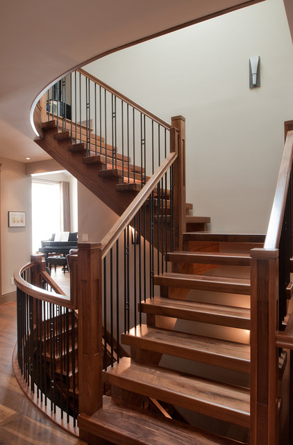 Walnut Stair Craftsman Staircase Calgary By