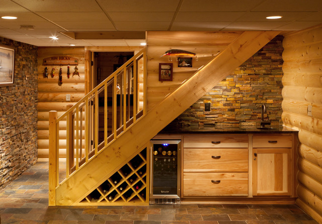 Small cabin on basement home decor and interior design for Log cabin basement ideas