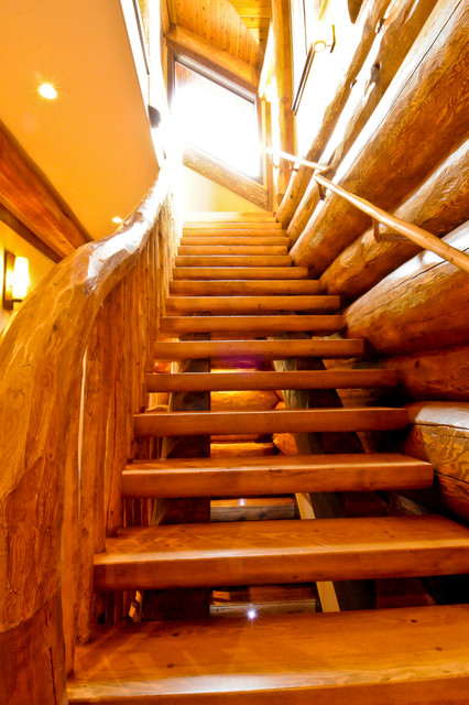 Western red cedar ranch style log home staircase Ranch style staircase
