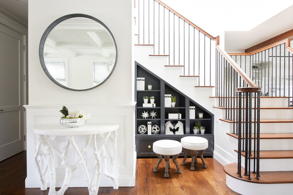 Staircase - transitional wooden l-shaped mixed material railing staircase idea in Los Angeles with wooden risers
