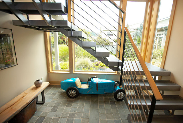 View of staircase looking into courtyard. contemporary-staircase