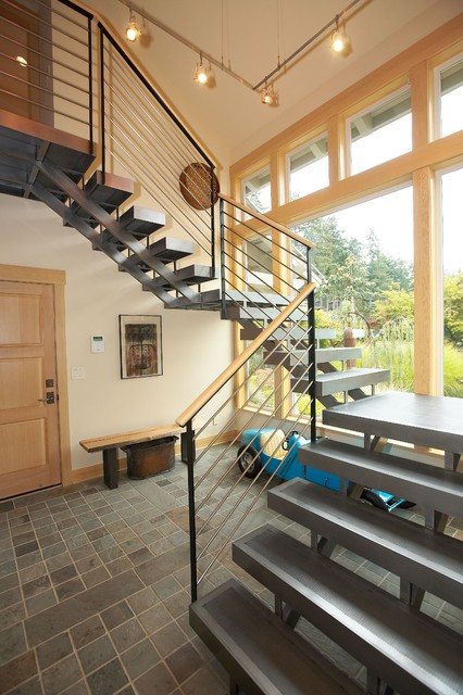 Staircase from entry. contemporary-staircase