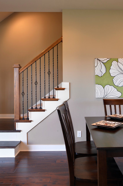 Whispering meadows teak craftsman model home staircase for Craftsman model homes