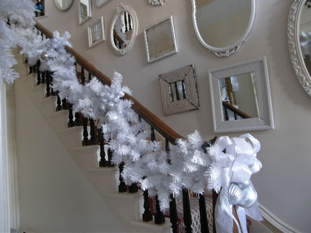 white christmas holiday decor eclectic staircase