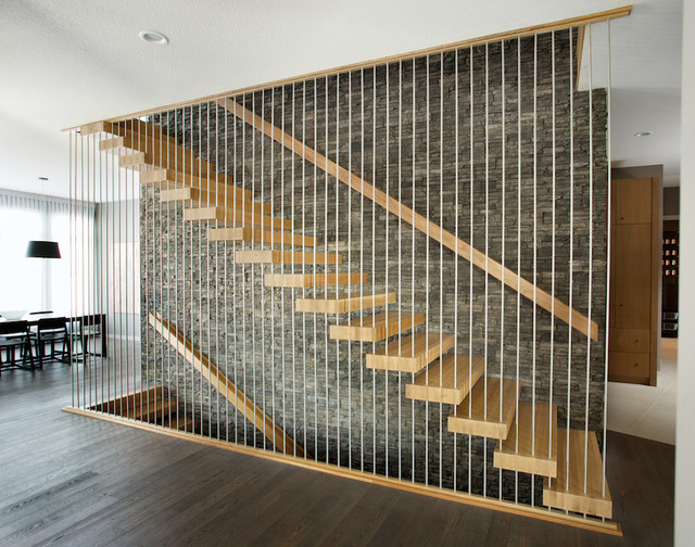 White oak floating stair - Modern - Staircase - Edmonton - by Specialized Stair and Rail