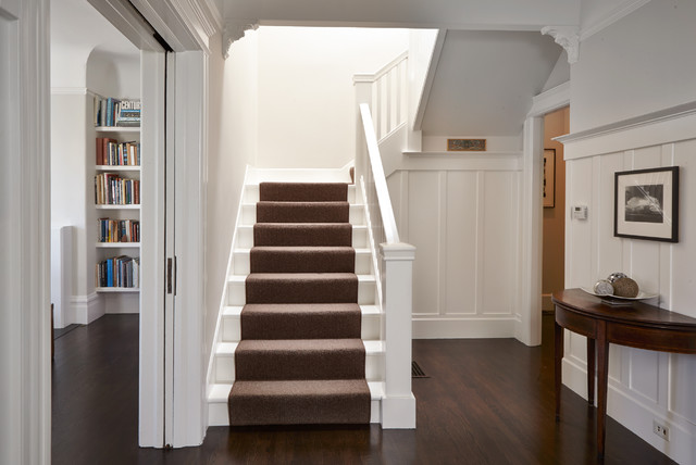 White Staircase with Carpet Runner traditional-staircase