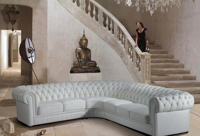 White Tufted Bonded Leather Sectional Sofas With A Roll Back Modern Staircase
