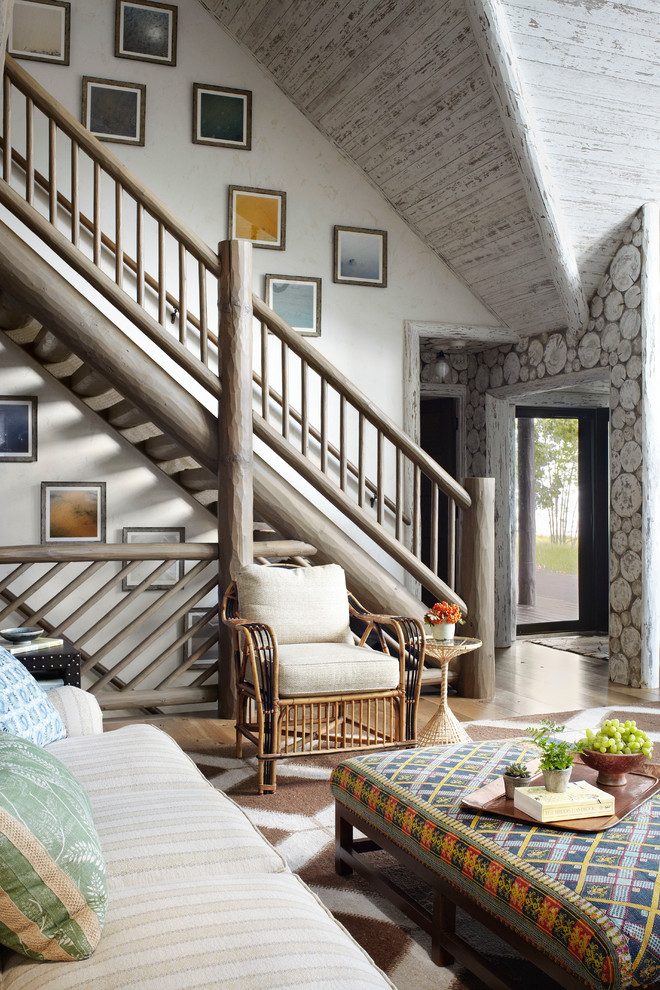 Mountain style straight open and wood railing staircase photo in Milwaukee