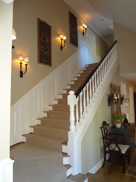 Wall Sconces On Staircase : Widder - Traditional - Staircase - orange county - by Skyline Kitchen & Bath