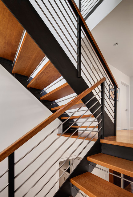 Wilmette Split Level Adds Penthouse Contemporary Staircase