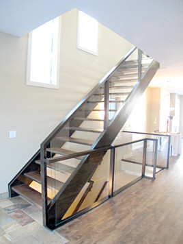 Wood And Glass Railings Artistic Stairs Open Riser