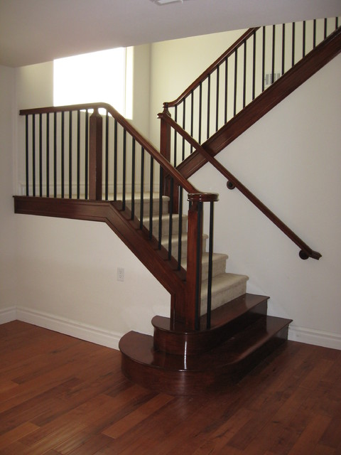 wood and iron railings - Traditional - Staircase - las ...