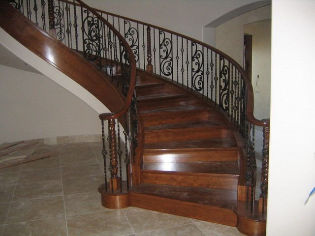 Wood And Iron Railings Traditional Staircase
