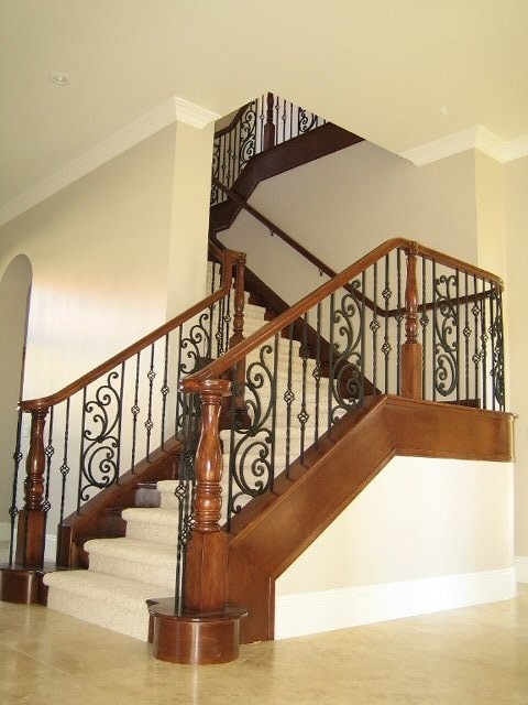 Wood And Iron Railings Traditional Staircase Las Vegas By Jd