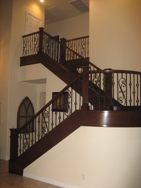 wood and iron railings traditional-staircase