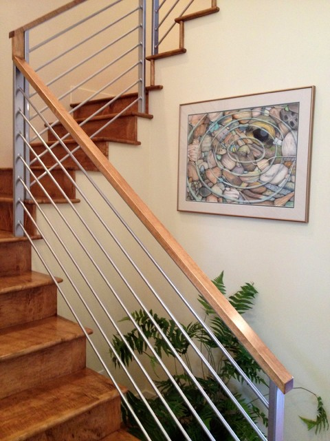 Example Of A Mid Sized Trendy Wooden U Shaped Staircase Design In Boise