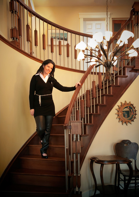 Wood and stainless steel balusters - Staircase - Montreal ...