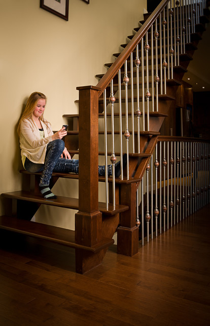Wood And Stainless Steel Balusters Contemporary Staircase