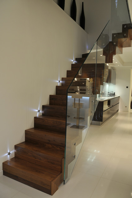 Wood Cladded Straight Staircase Glass Balustrade Contemporary