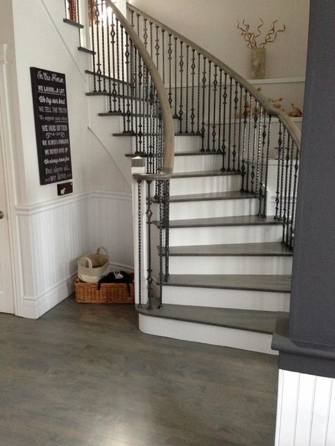 Wood Floor U0026 Stair Refinishing   Grey Stained Coloured Modern Staircase