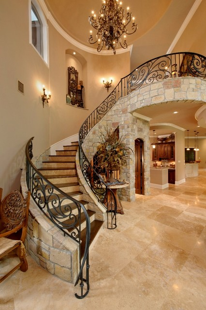 Wood forest mediterranean staircase houston by for Small house design houzz