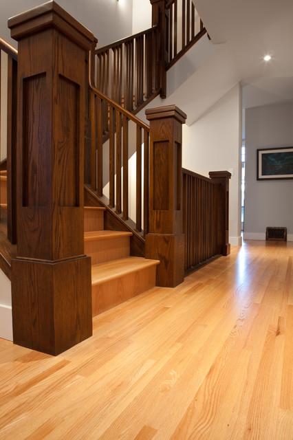 Wood Railing Craftsman Staircase Edmonton By