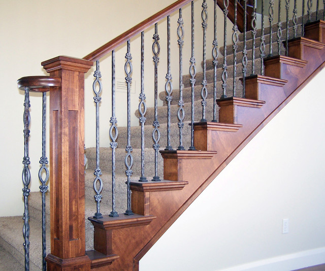 Wood Railing With Wrought Iron Baers American Traditional Staircase