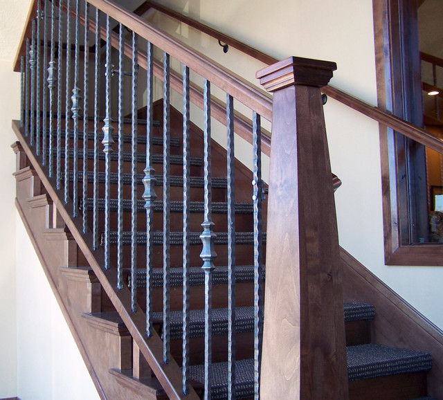Superb Wood Railing With Wrought Iron Balusters Traditional Staircase