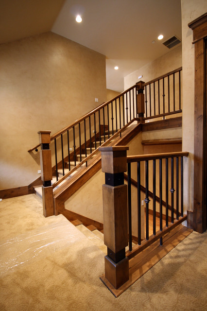 Small Elegant Carpeted U Shaped Staircase Photo In Salt Lake City With Risers