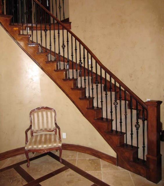 Wood Railing with Wrought Iron Balusters - Traditional - Staircase - salt lake city - by Titan ...