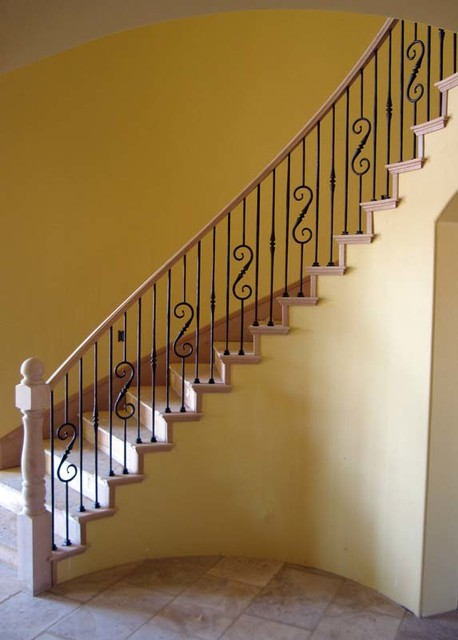 Wood Railing with Wrought Iron Balusters traditional-staircase