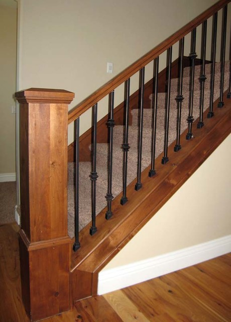 Wood Railing With Wrought Iron Balusters American Traditional Staircase