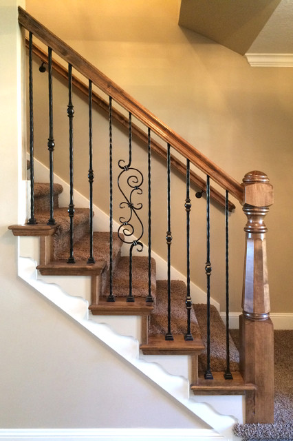 Wood Railing With Wrought Iron Balusters Traditional Staircase