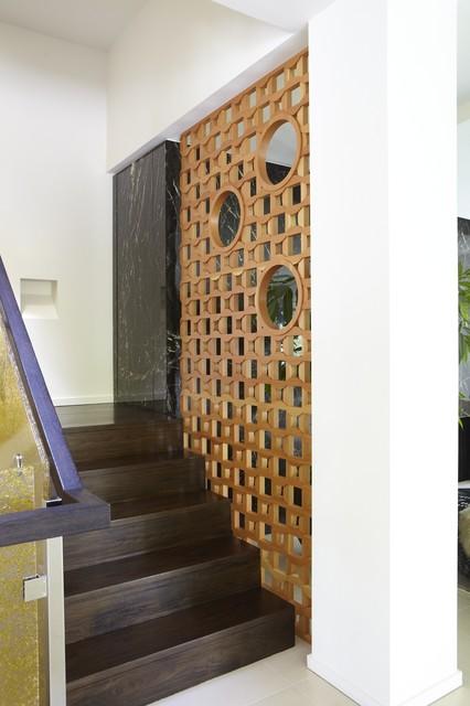 Wood screen contemporary staircase san francisco