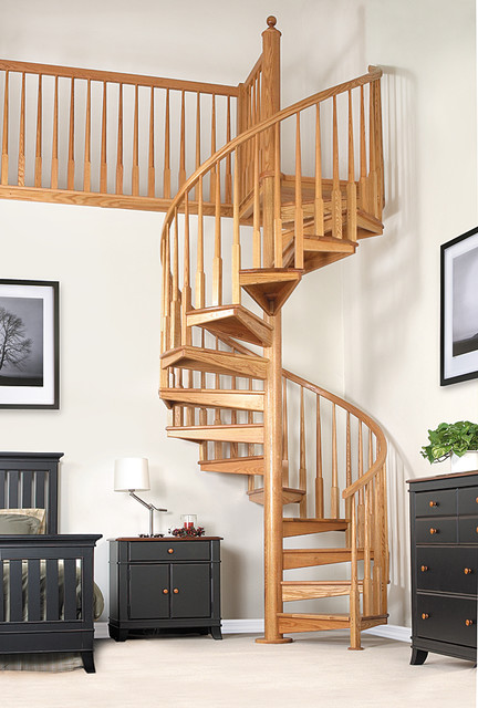 Wood spiral stair thumb 1 contemporary staircase for Spiral stair