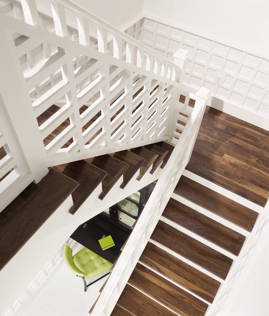 Wood Staircase by Alvarez Homes - New Home Construction in Tampa FL tropical-staircase