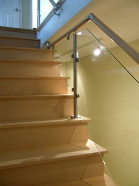 Wood Stairs and Stainless Steel/Glass Railings contemporary-staircase