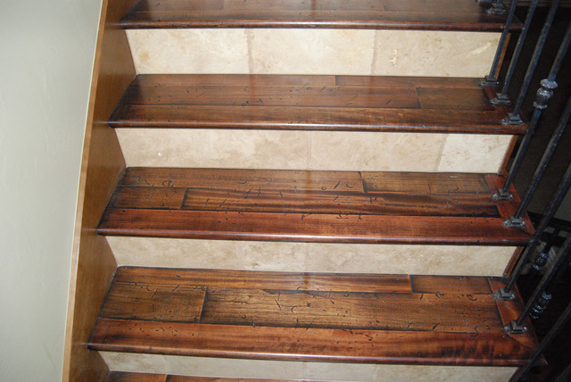 Wood Treads With Tile Risers Rustic Staircase