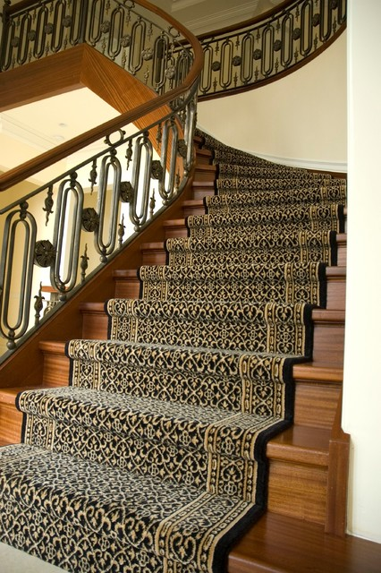 Wool stair runner traditional staircase other metro for Woven carpet for stairs