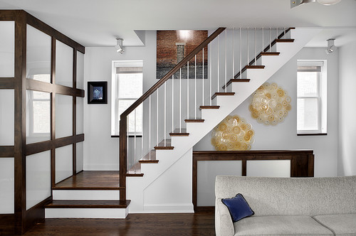 Two-stringer stairs with exposed soffit.