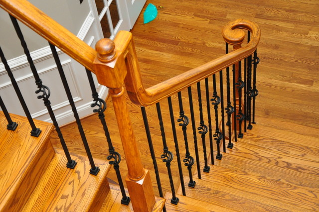 Wrought Iron Baluster Installation Traditional Staircase
